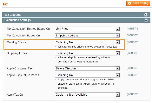 Magento Step Catalog price net