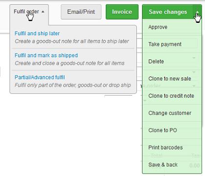 sales button action