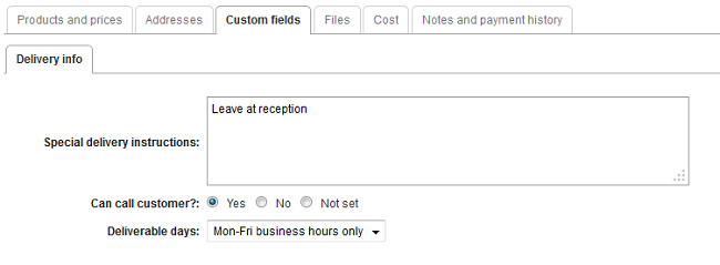 sales custom fields