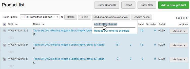eBay add to eBay channel