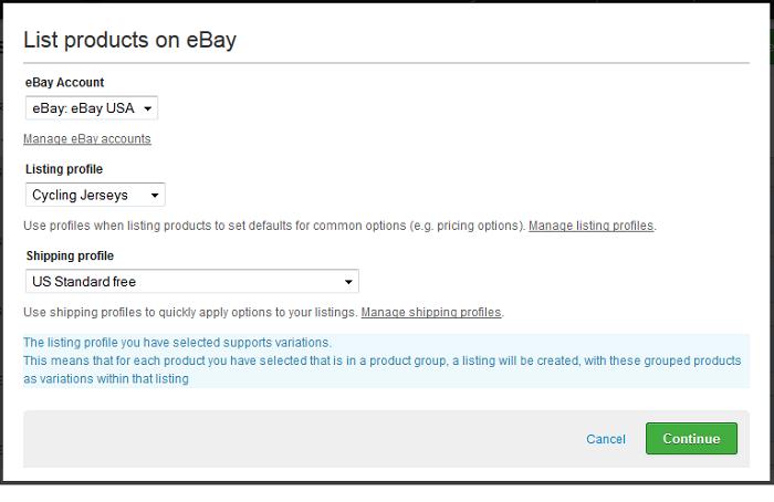 eBay create listing modal