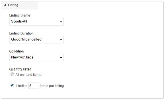 eBay listing profile listing