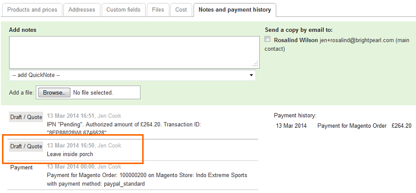 notes payment history