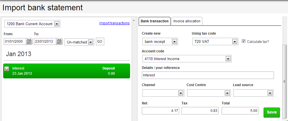 bank matching transaction import brightpearl help center