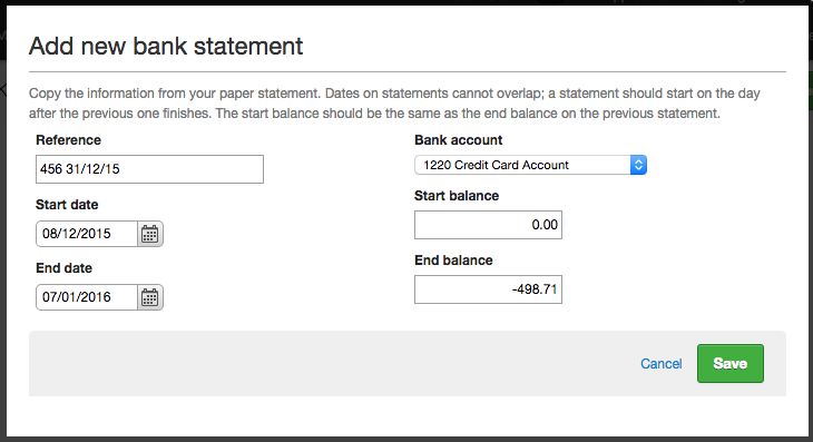 add credit card statement