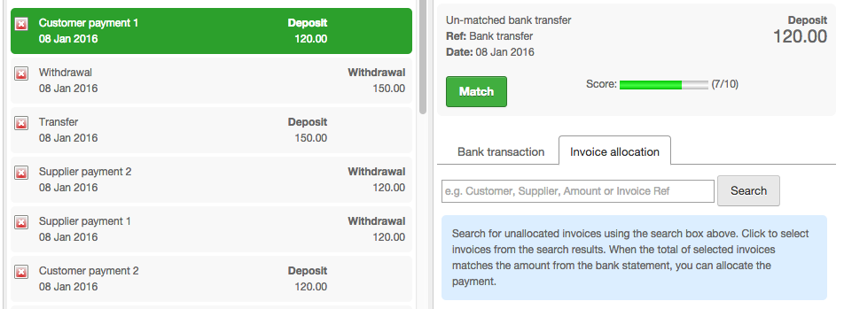 bank match multiple invoices