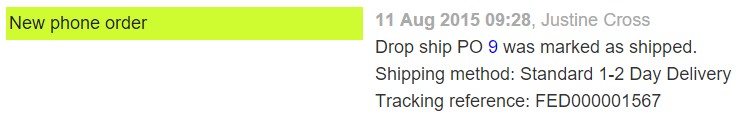 dropship PO tracking