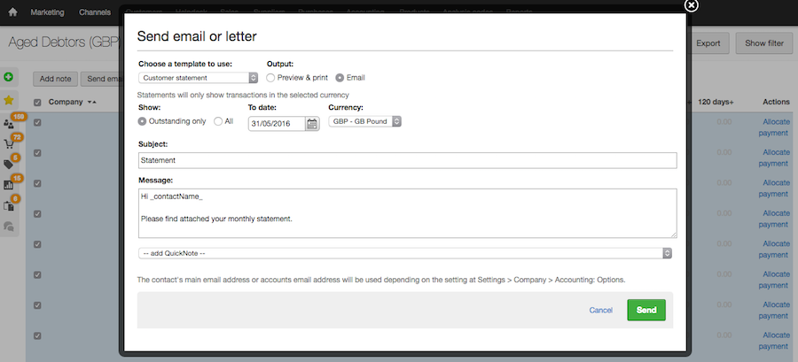 email customer statement