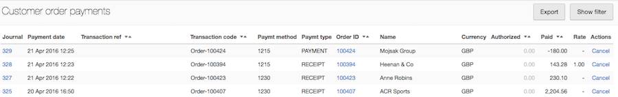 order payments report