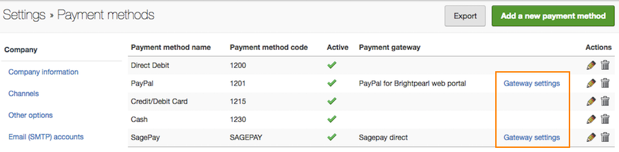 settings payment methods gateways
