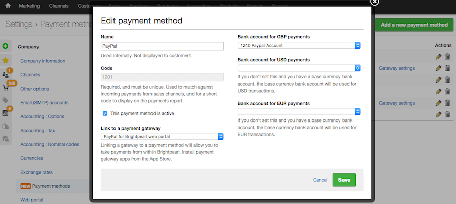 settings payment methods