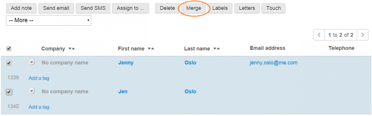 merge contacts